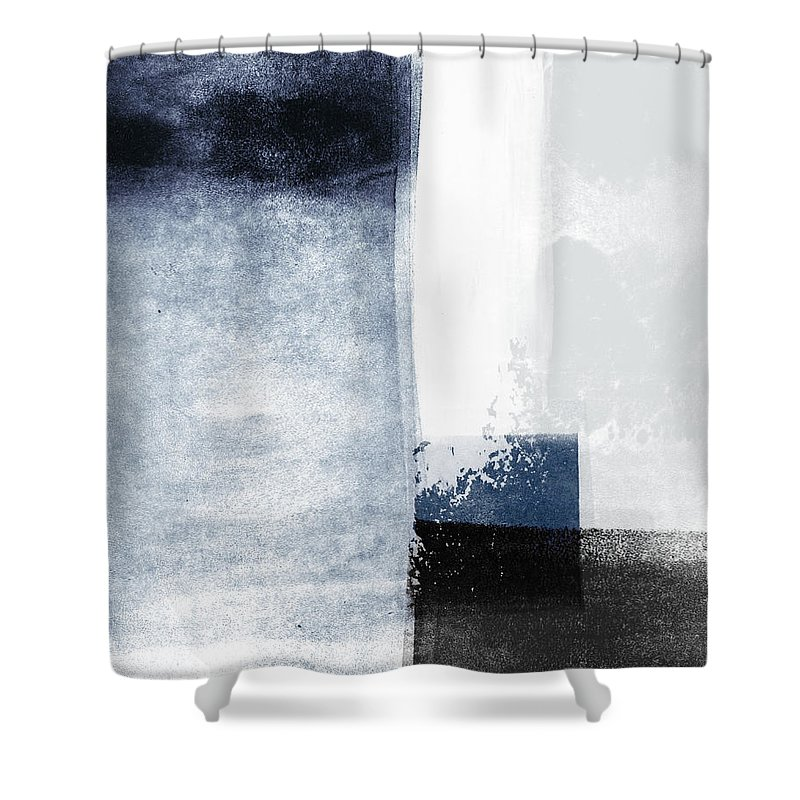 Blue Shower Curtain featuring the mixed media Mestro 3- Abstract Art by Linda Woods by Linda Woods