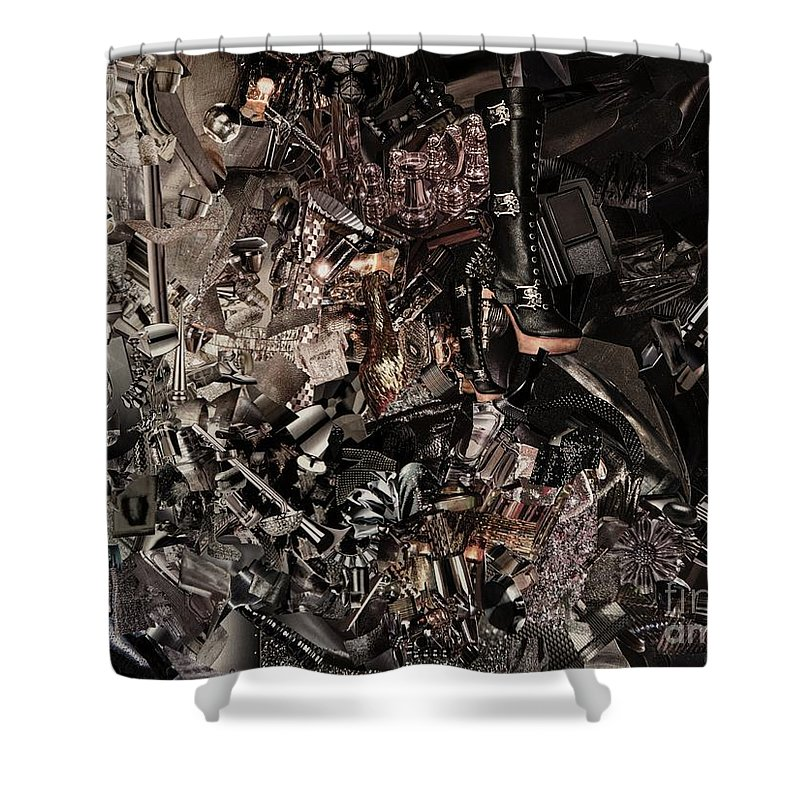 60 X 80 Cm Shower Curtain featuring the mixed media Metal by Andrea Ignacio