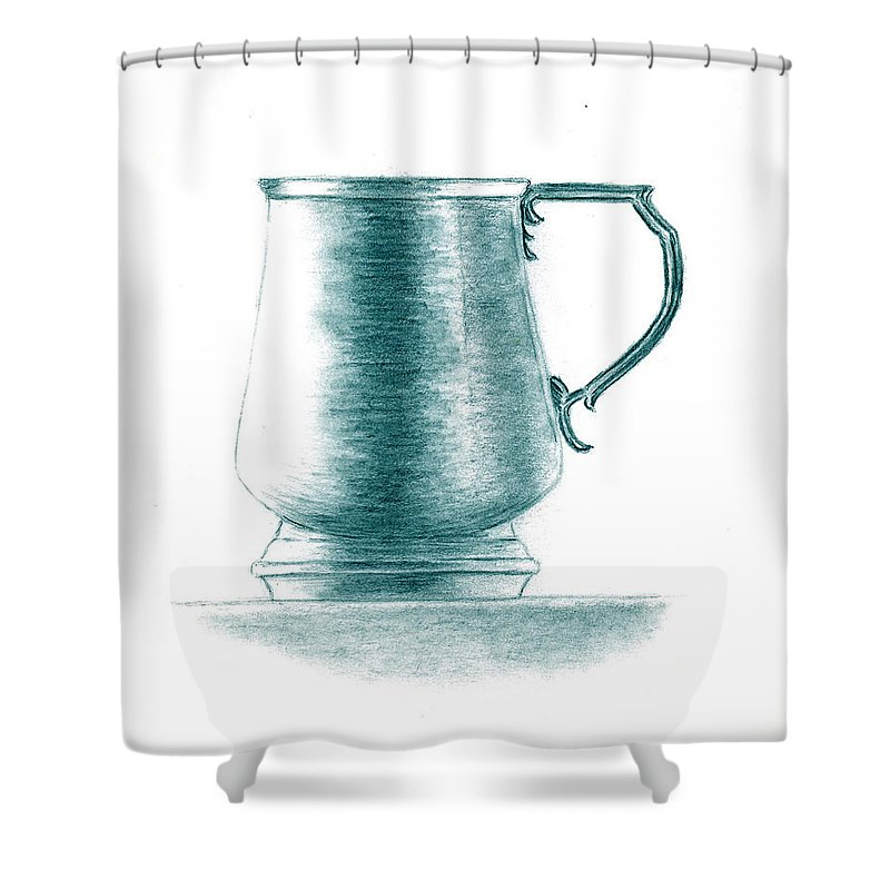 Cup Shower Curtain featuring the painting Metal Drinking Cup by Michael Vigliotti
