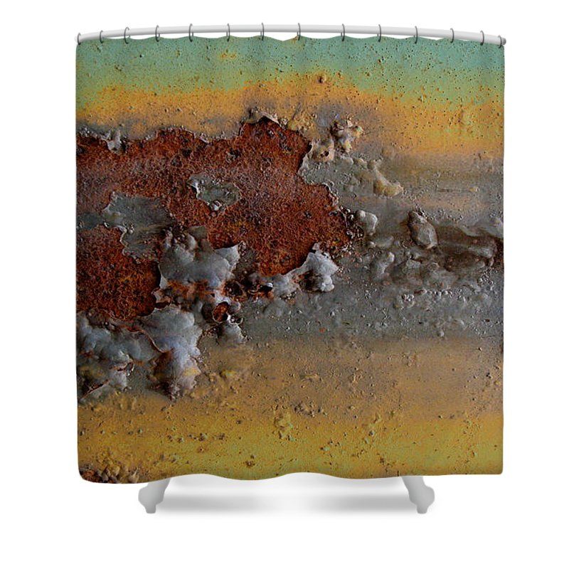 Weathered Metal Shower Curtain featuring the photograph Metalfasti by Elaine Booth-Kallweit