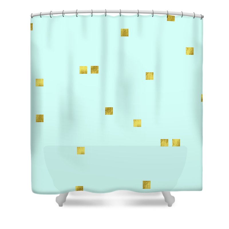Pale Aqua Shower Curtain featuring the digital art Metallic Square Confetti Print, Gold Squares On Aqua by Tina Lavoie