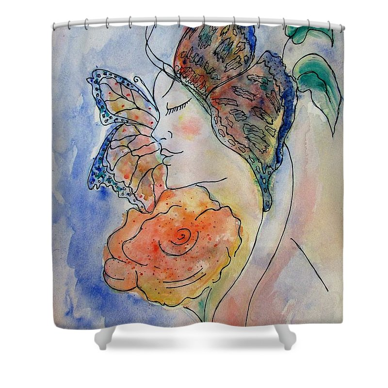Watercolor Painting Shower Curtain featuring the painting Metamorphosis by Robin Monroe