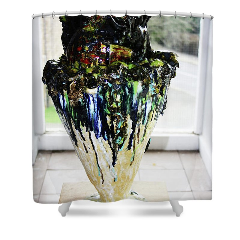 Jesus Shower Curtain featuring the sculpture Methadone Explosion View One by Gloria Ssali