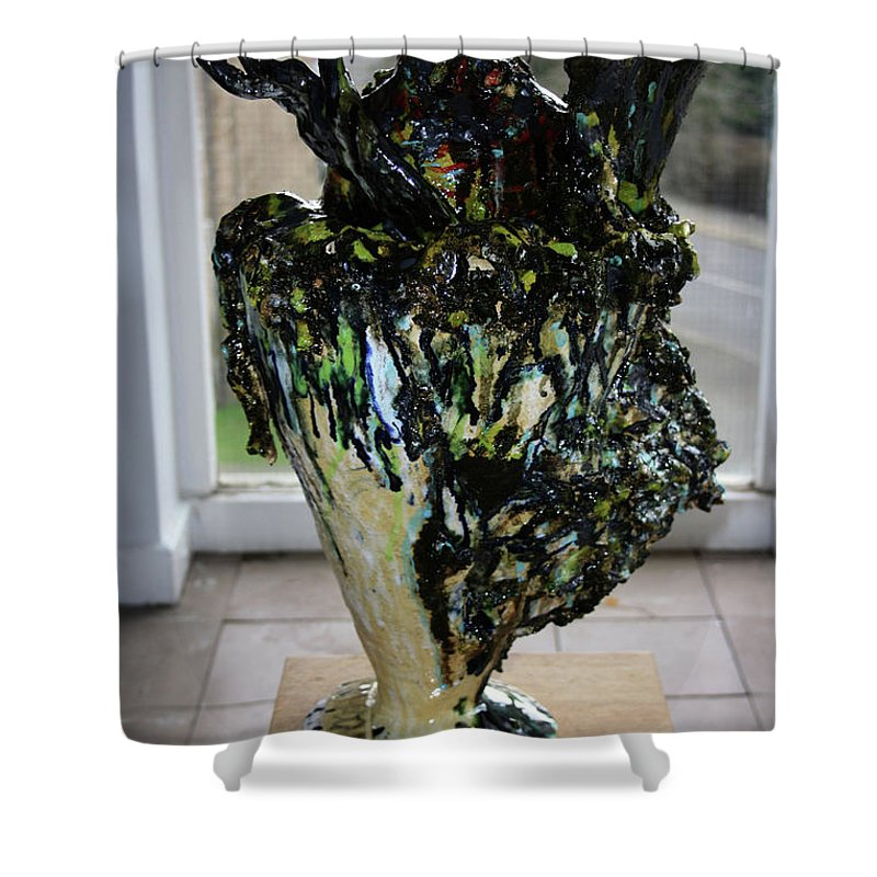 Jesus Shower Curtain featuring the sculpture Methadone Explosion View Two by Gloria Ssali