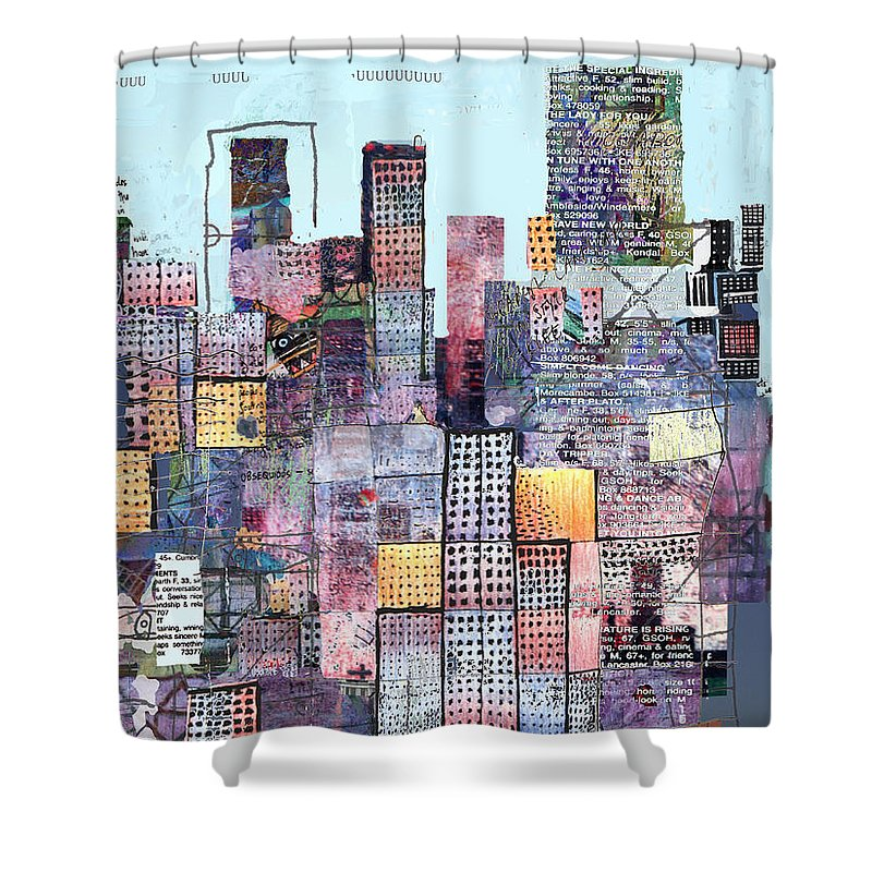 Metro Shower Curtain featuring the digital art Metropolis 3 by Andy Mercer
