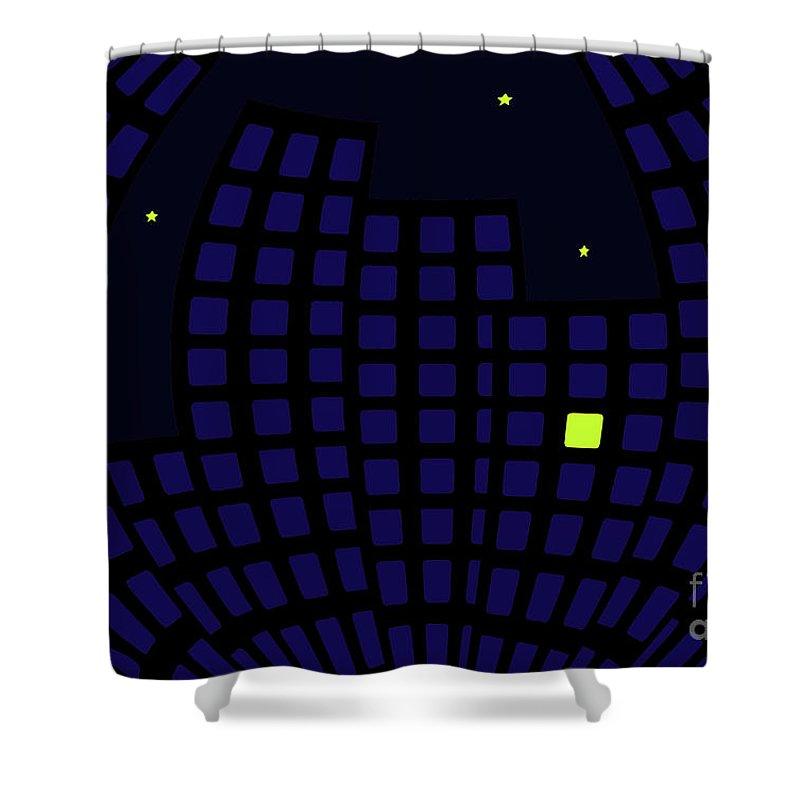 Usa Shower Curtain featuring the digital art Metropolis At Night by Richard Wareham