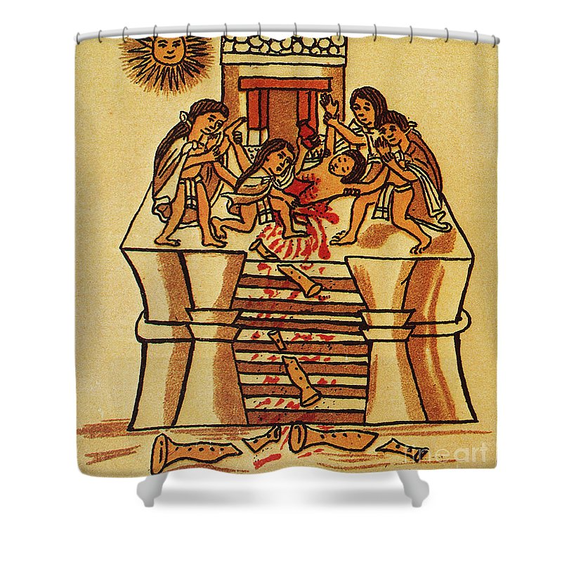 16th Century Shower Curtain Featuring The Photograph Mexico Aztec Sacrifice By Granger