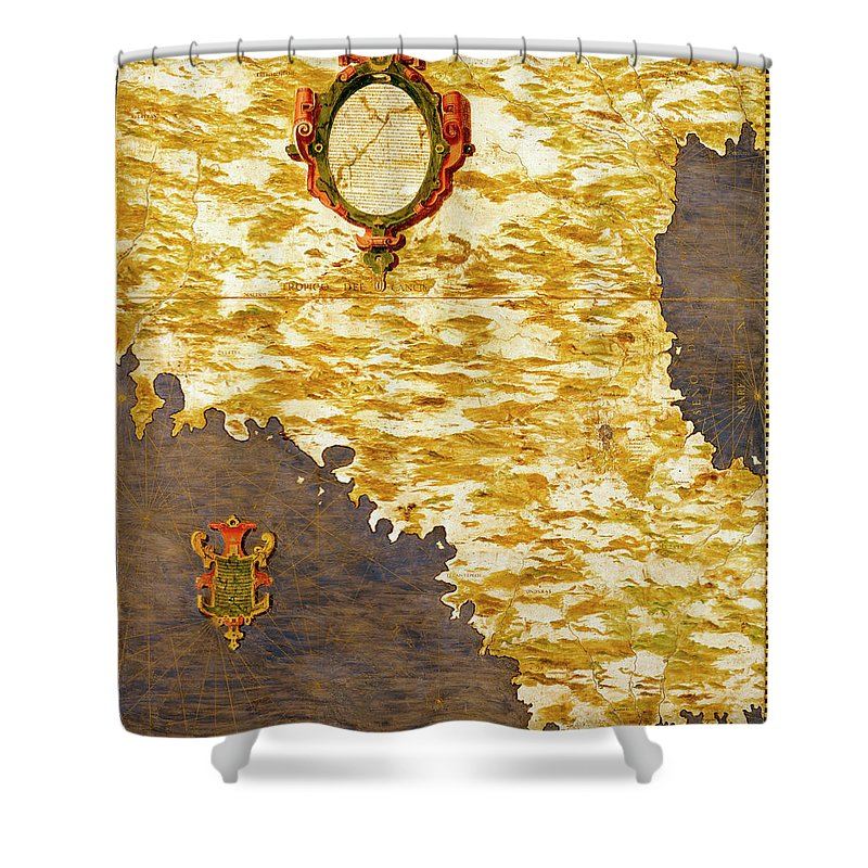Map Shower Curtain featuring the painting Mexico by Italian painter of the 16th century