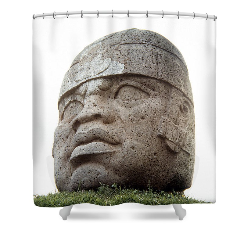 10th Century B.c Shower Curtain featuring the photograph Mexico: Olmec Head by Granger