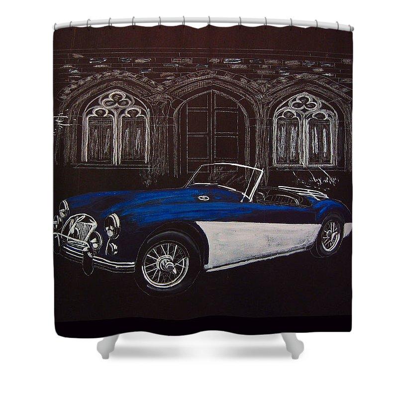 Mga Shower Curtain featuring the painting Mga At Night by Richard Le Page