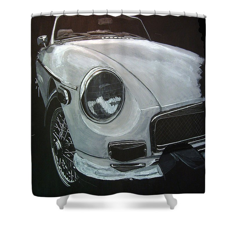 Mgb Shower Curtain featuring the painting MGB by Richard Le Page