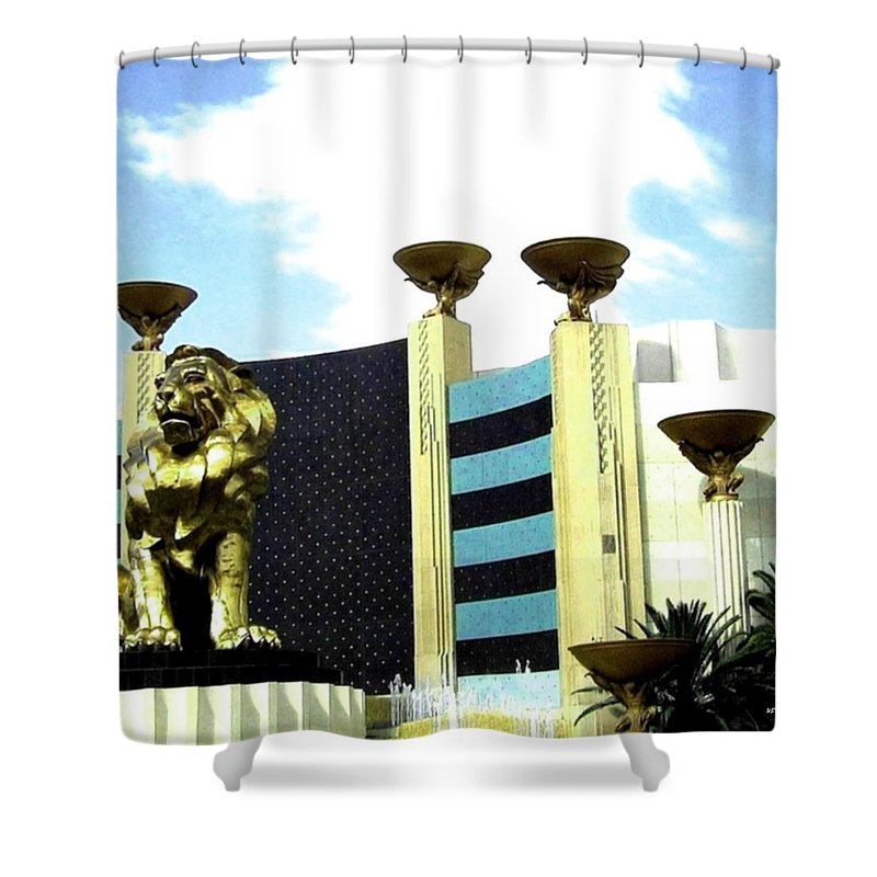 Mgm Shower Curtain featuring the photograph MGM Lion In Las Vegas by Will Borden