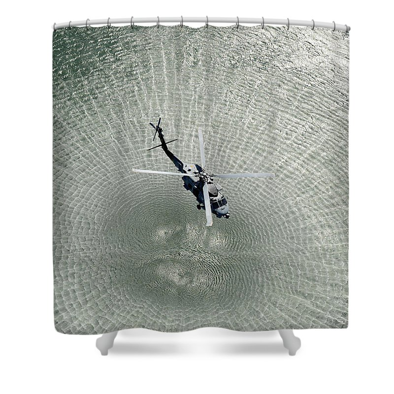 Hsm 71 Shower Curtain featuring the painting Mh-60r Sea Hawk Helicopter by Celestial Images
