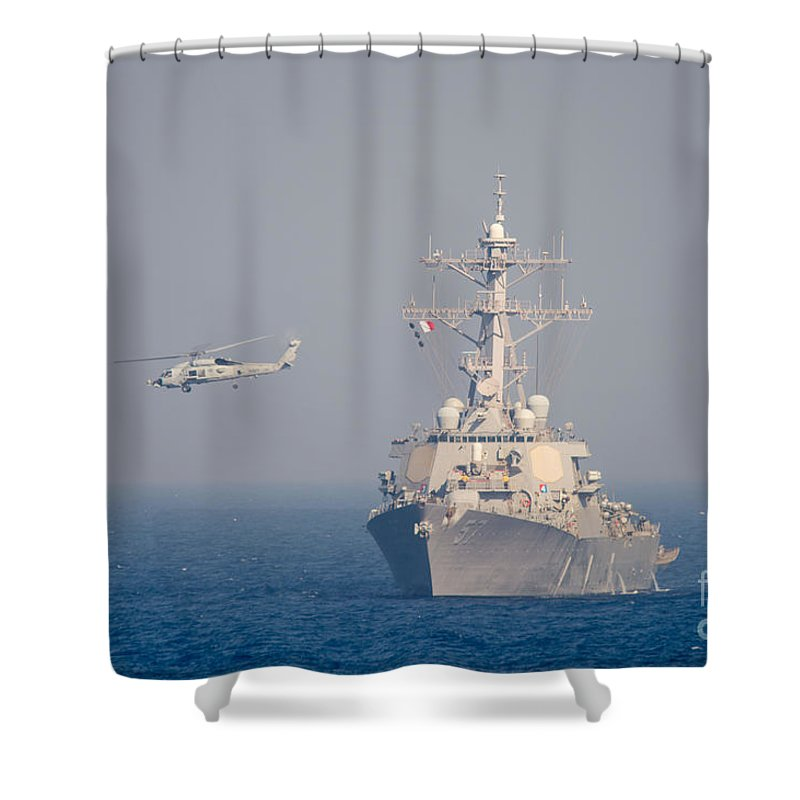 Anthony R. Martinez Shower Curtain featuring the painting Mh-60r Sea Hawk Helicopter Flies by Celestial Images