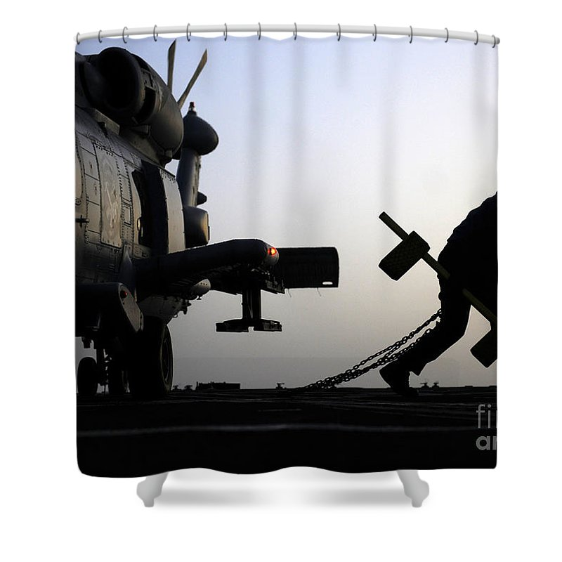 Mh-60r Sea Hawk Helicopter Is Ready For Duty Shower Curtain featuring the painting Mh-60r Sea Hawk Helicopter Is Ready For Duty by Celestial Images