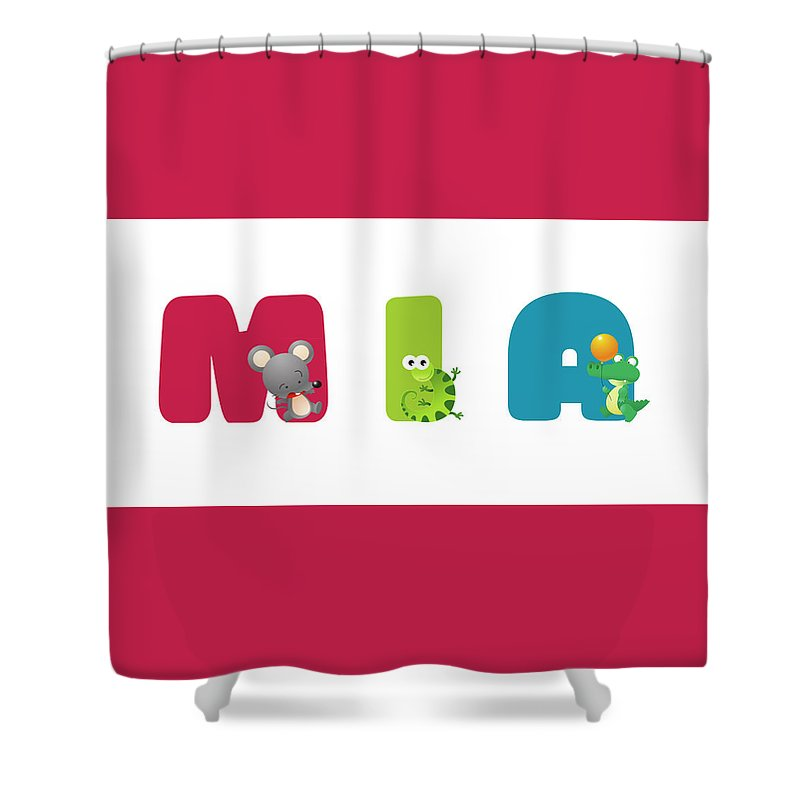 Mia Shower Curtain Featuring The Mixed Media Baby Name By Gina Dsgn