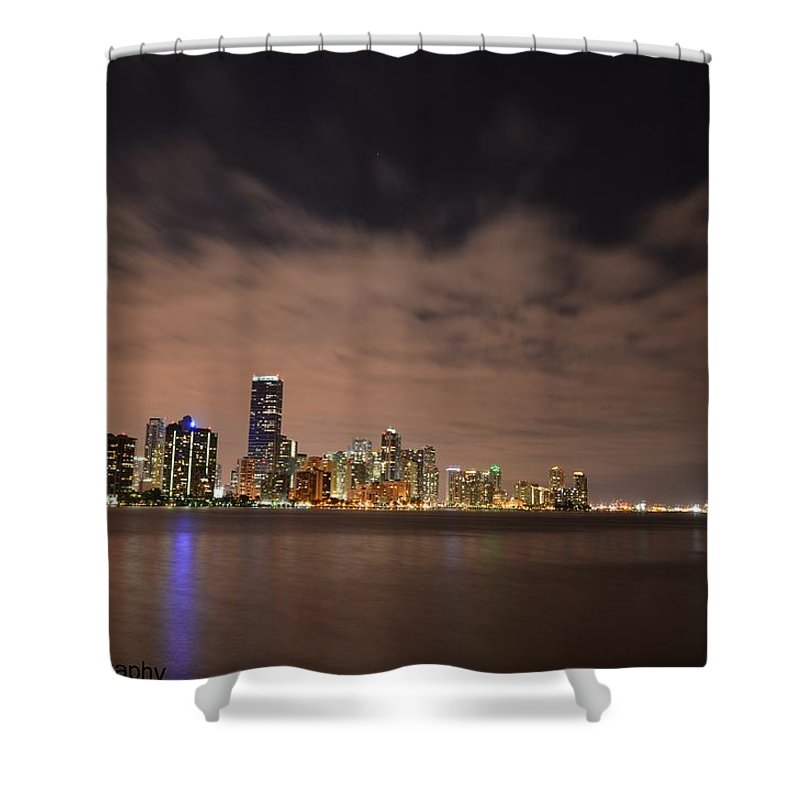 Miami.downtown Shower Curtain featuring the photograph Miami Downtown At Night by Jorge Cruz