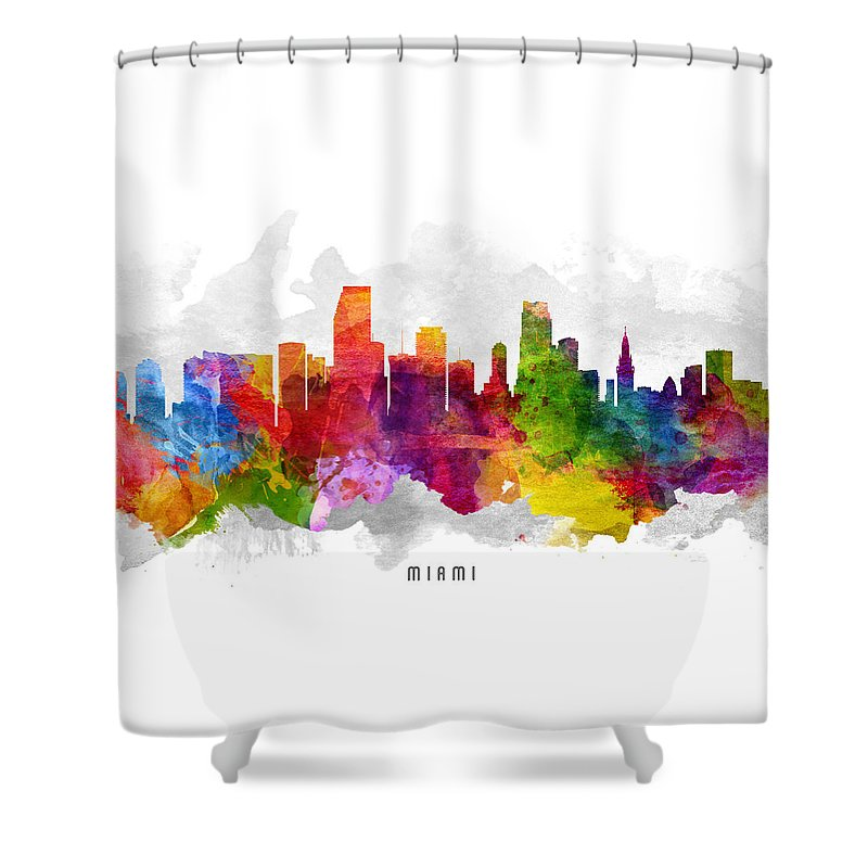 Miami Shower Curtain featuring the painting Miami Florida Cityscape 13 by Aged Pixel