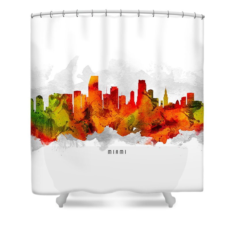 Miami Shower Curtain featuring the painting Miami Florida Cityscape 15 by Aged Pixel