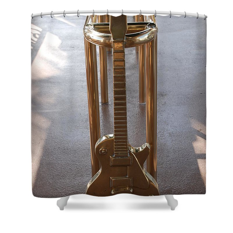 Brass Shower Curtain featuring the photograph Miami Hard Rock Brass Rail by Rob Hans