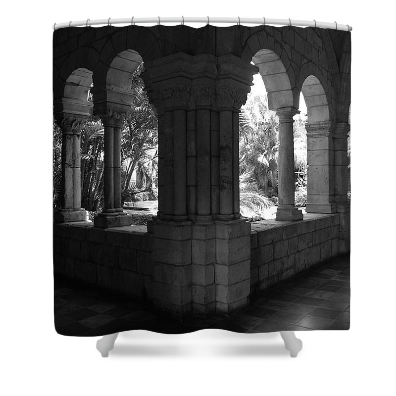 Black And White Shower Curtain featuring the photograph Miami Monastery In Black And White by Rob Hans