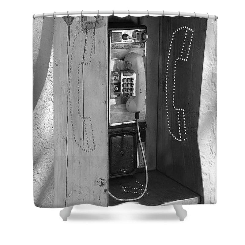 Pop Art Shower Curtain featuring the photograph Miami Pay Phone by Rob Hans