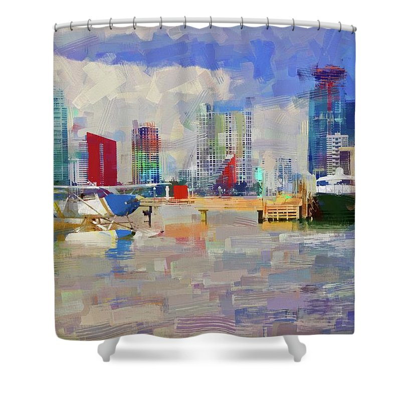 Alicegipsonphotographs Shower Curtain featuring the photograph Miami Seaplane by Alice Gipson