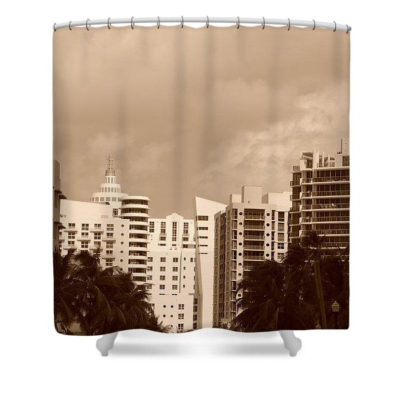 Sepia Shower Curtain featuring the photograph Miami Sepia Sky by Rob Hans