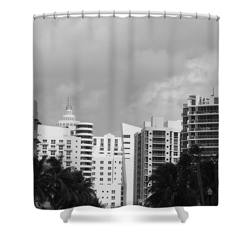 Black And White Shower Curtain featuring the photograph Miami Sky by Rob Hans