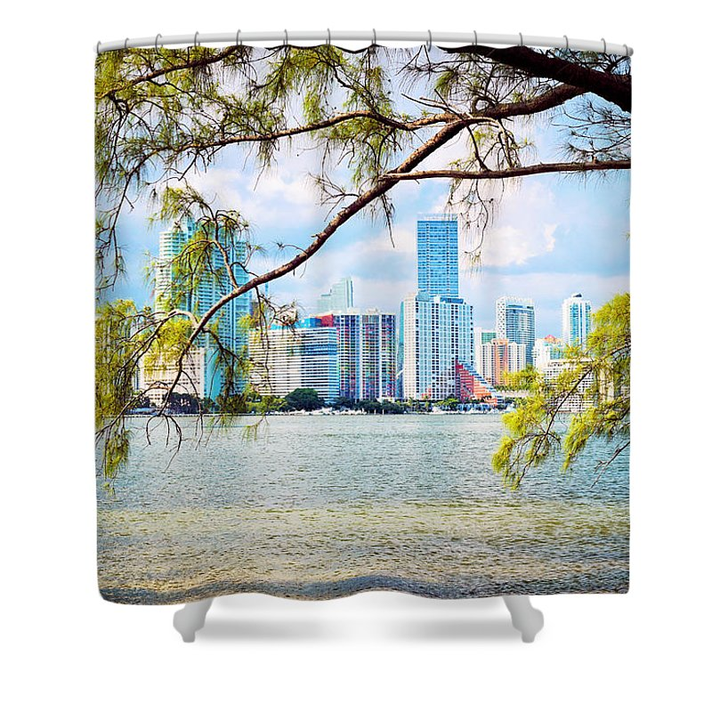 Skyline Shower Curtain featuring the photograph Miami Skyline by Camille Lopez