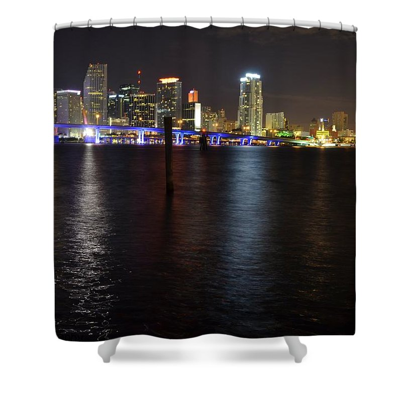 Downtown Shower Curtain featuring the photograph Miami's Downtown At Night by Jorge Cruz