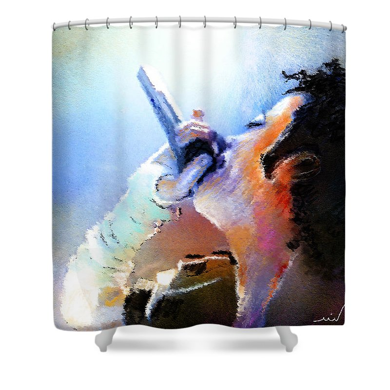 Music Shower Curtain featuring the painting Michael Jackson 06 by Miki De Goodaboom
