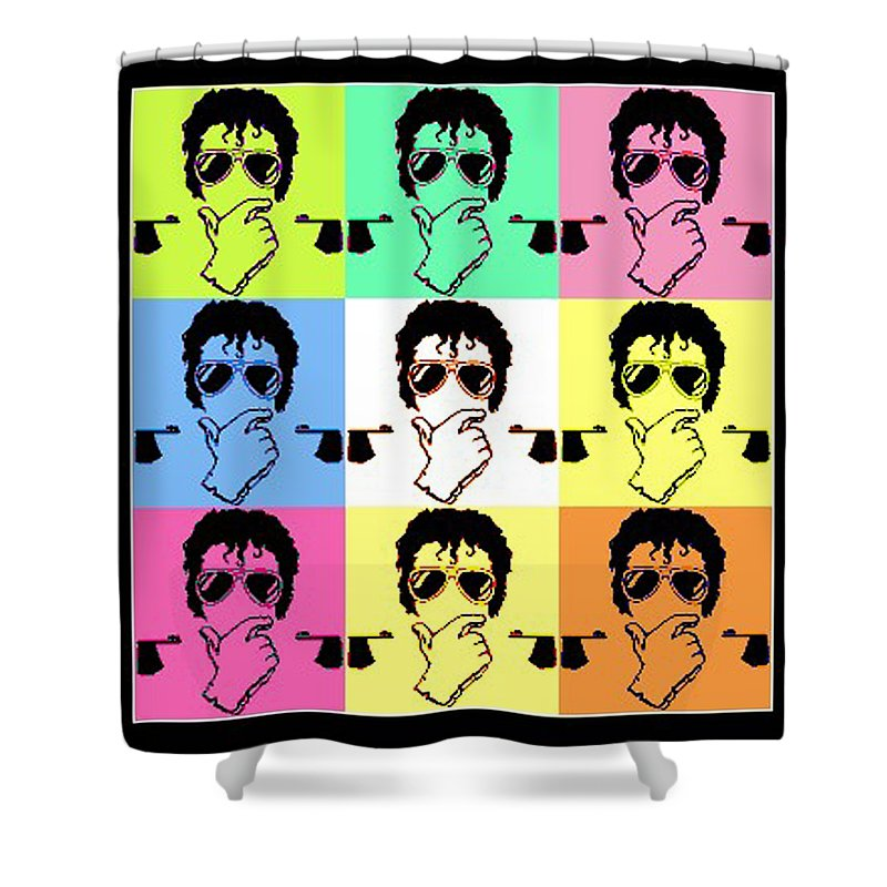 Mj Shower Curtain featuring the mixed media Michael Jackson Pop by Paul Van Scott