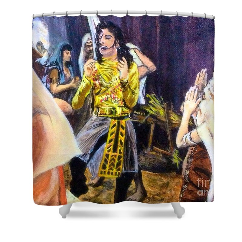Michael Jackson Shower Curtain featuring the painting Remember The Time by Alexander Gatsaniouk for Sale