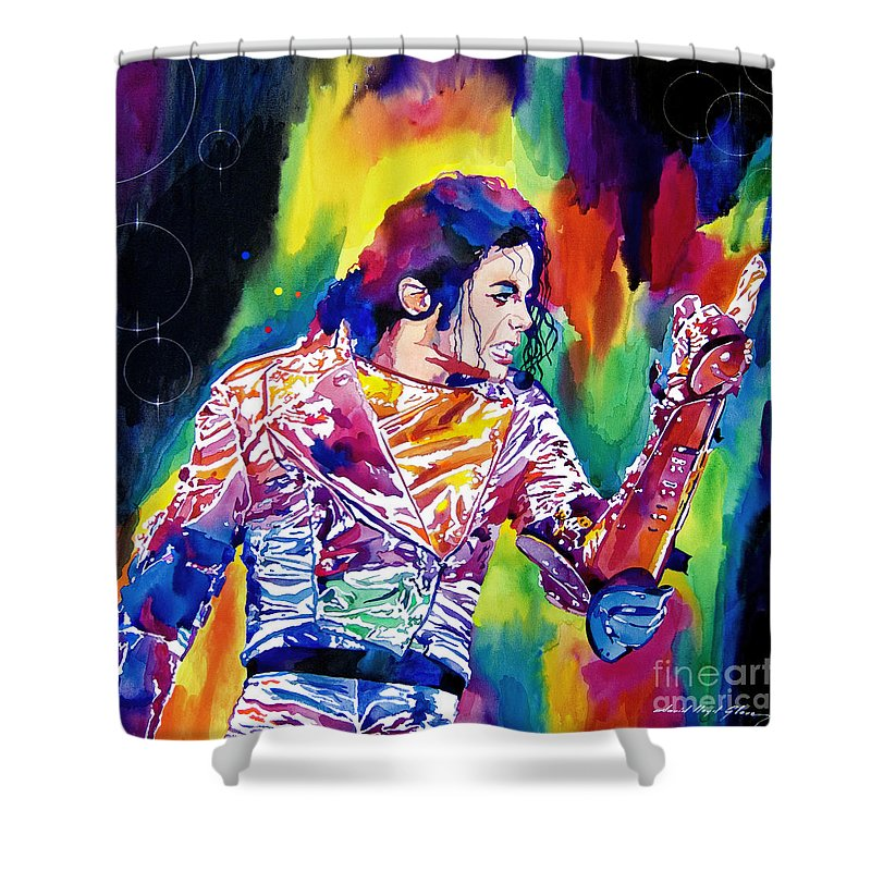 Michael Jackson Shower Curtain featuring the painting Michael Jackson Showstopper by David Lloyd Glover