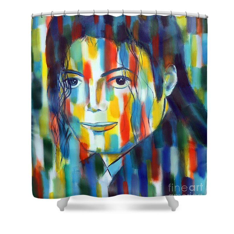 Micahel Jacson The King Of Pop Color Abstractexpressiopnism Tribute To The King Of Pop Shower Curtain featuring the painting Michael Jackson The Man In Color by Habib Ayat