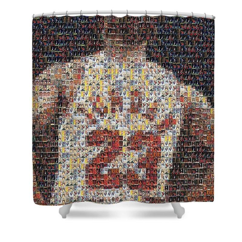 Michael Jordan Shower Curtain Featuring The Mixed Media Card Mosaic 2 By Paul Van