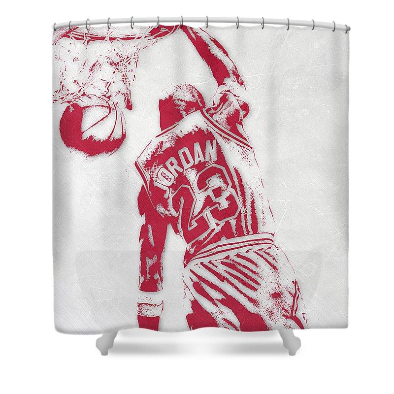 Michael Jordan Shower Curtain Featuring The Mixed Media Chicago Bulls Pixel Art 1 By