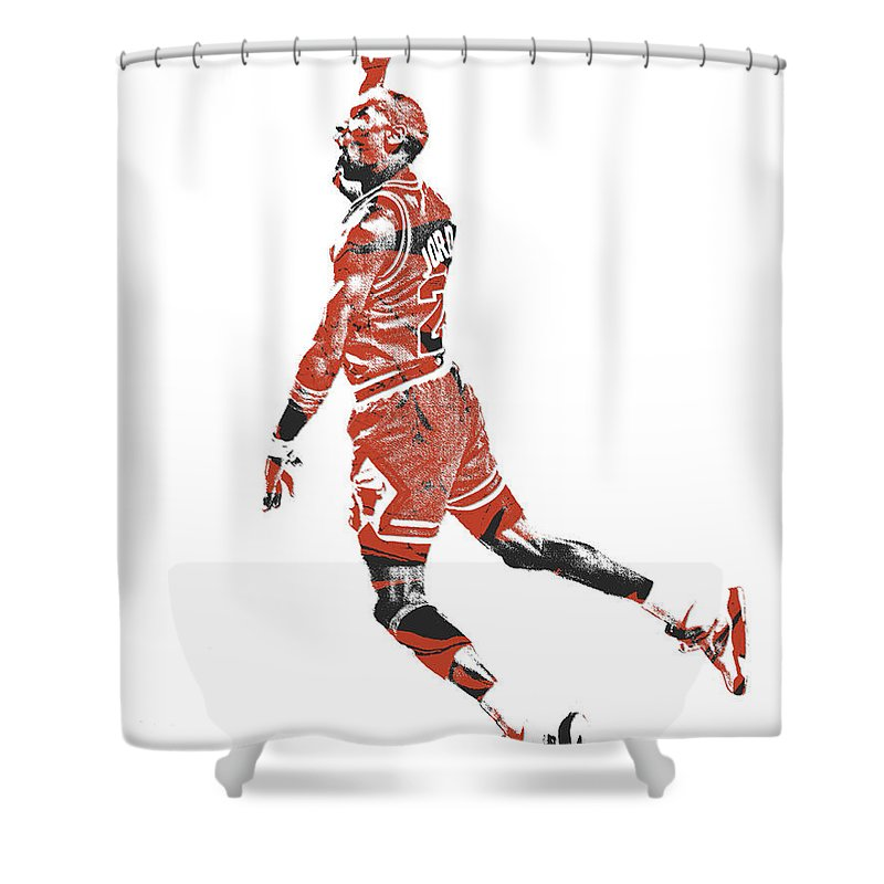 Michael Jordan Shower Curtain Featuring The Mixed Media Chicago Bulls Pixel Art 11 By
