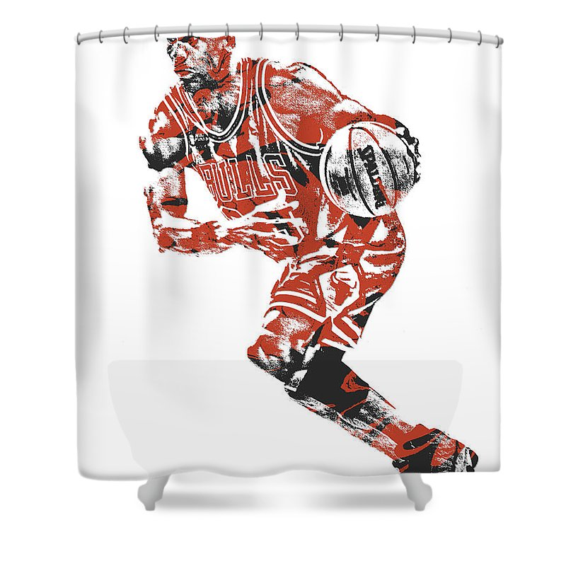 Michael Jordan Shower Curtain Featuring The Mixed Media Chicago Bulls Pixel Art 12 By