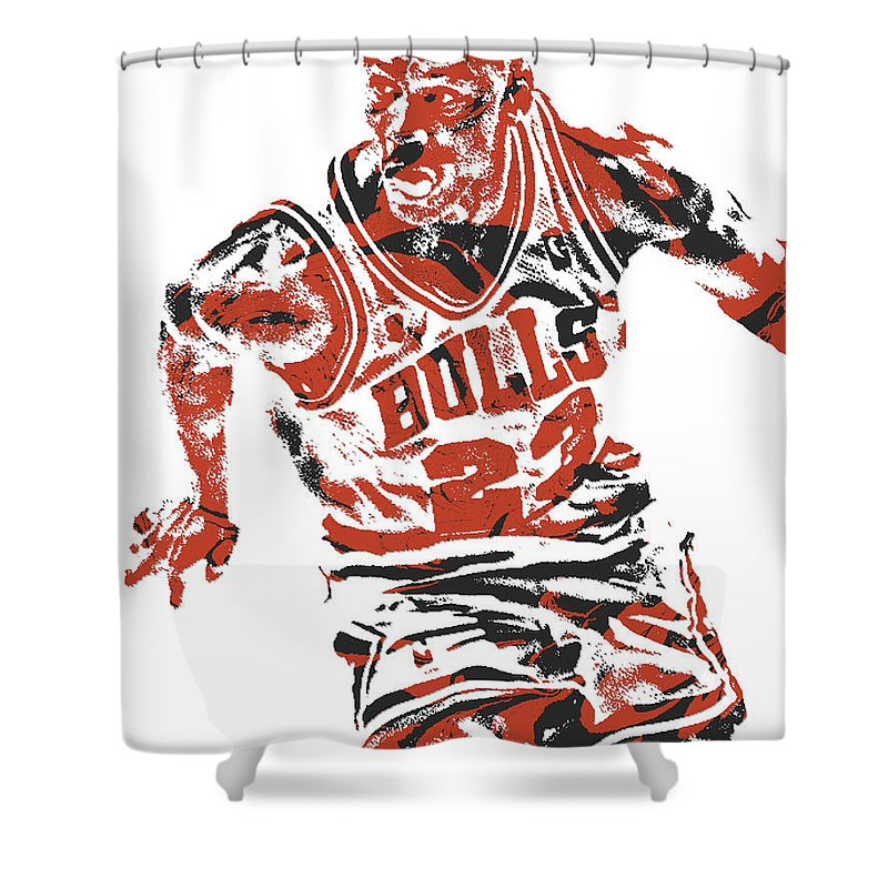Michael Jordan Shower Curtain Featuring The Mixed Media Chicago Bulls Pixel Art 15 By