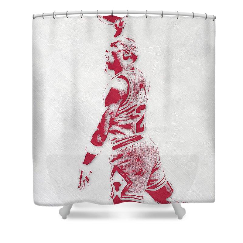 Michael Jordan Shower Curtain Featuring The Mixed Media Chicago Bulls Pixel Art 3 By