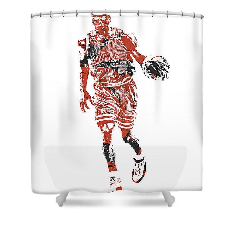 Michael Jordan Shower Curtain Featuring The Mixed Media Chicago Bulls Pixel Art 30 By