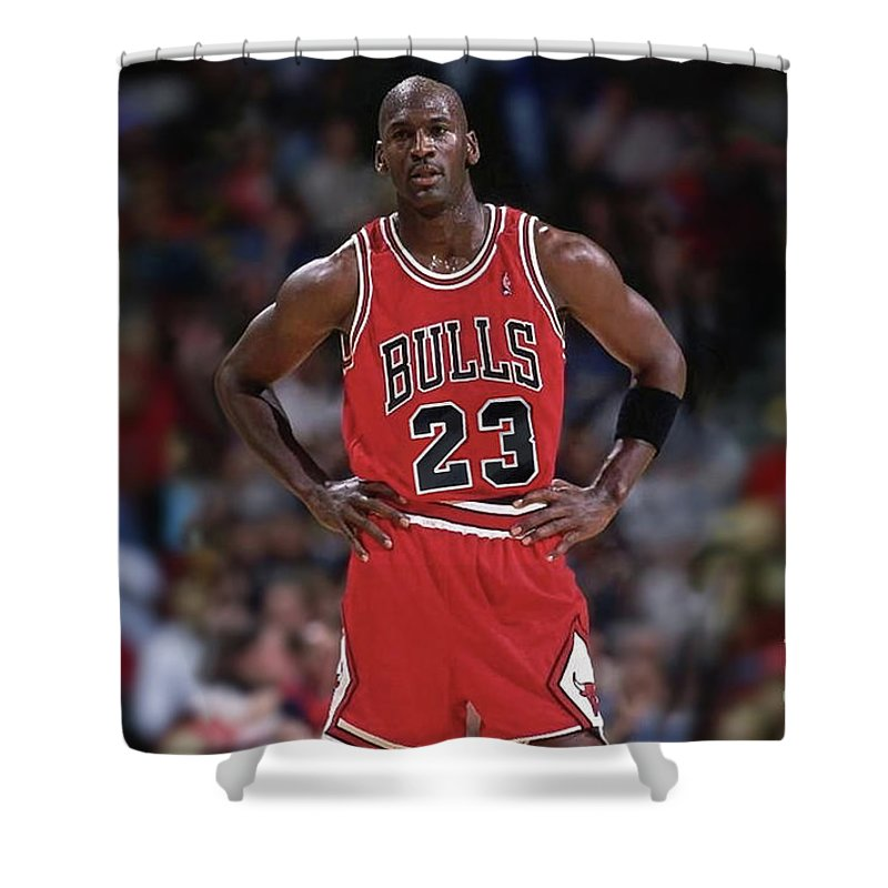Michael Jordan Shower Curtain Featuring The Mixed Media Number 23 Chicago Bulls