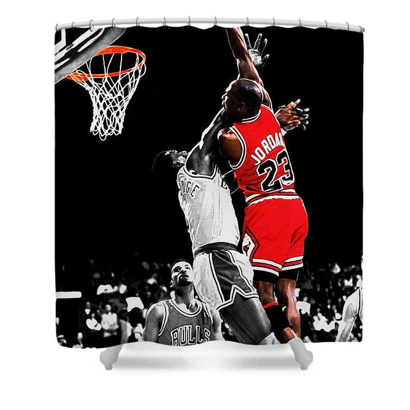 66e43cc3e4b7d2 Michael Jordan Shower Curtain featuring the mixed media Michael Jordan  Power Slam by Brian Reaves