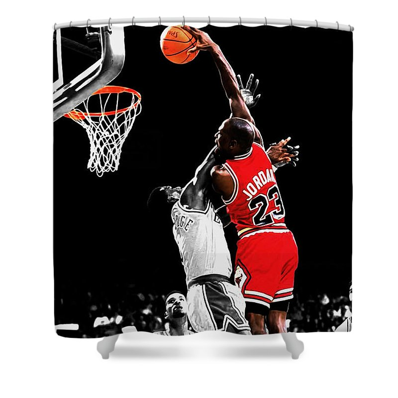 66e43cc3e4b7d2 Michael Jordan Shower Curtain featuring the mixed media Michael Jordan  Power Slam by Brian Reaves
