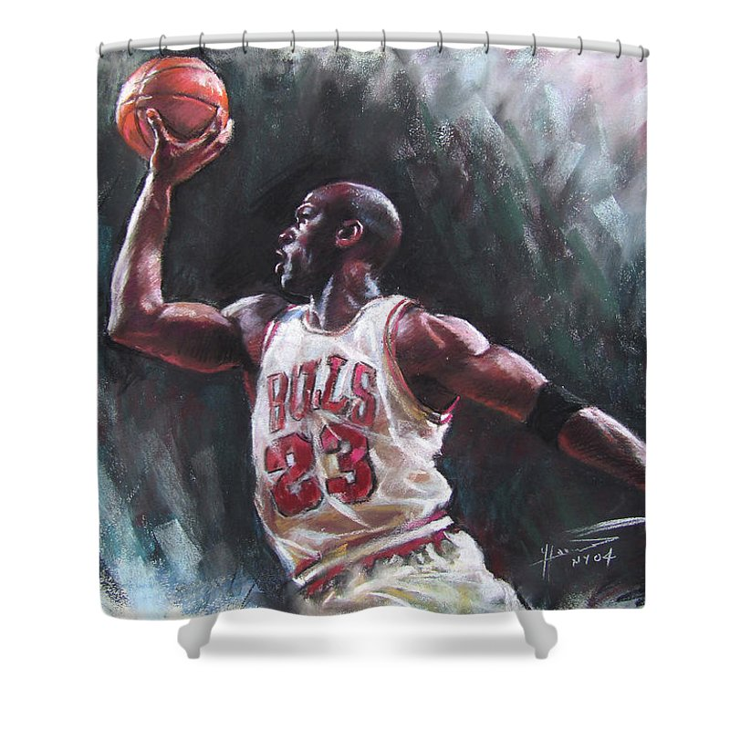 Michael Jordan Shower Curtain featuring the pastel Michael Jordan by Ylli Haruni