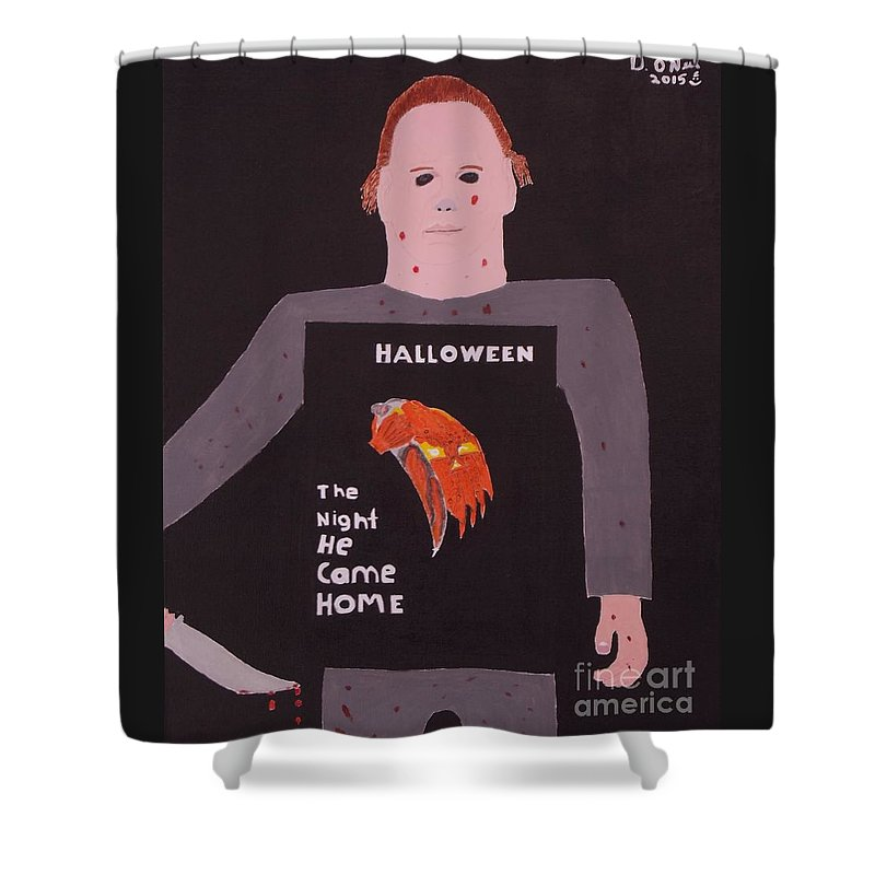 Halloween Shower Curtain Featuring The Painting Michael Myers By Dennis ONeil