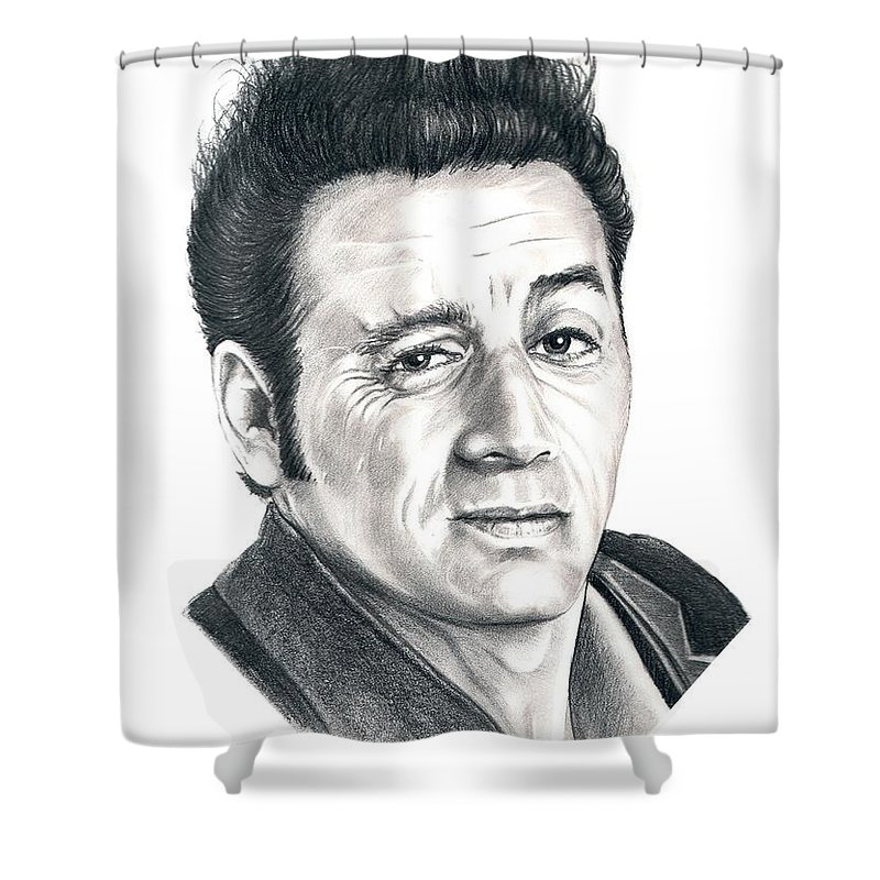 Pencil Shower Curtain featuring the drawing Michael Richards Cosmo Kramer by Murphy Elliott