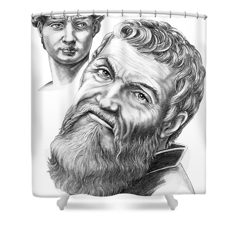 Michelangelo Shower Curtain featuring the drawing Michelangelo And David by Murphy Elliott